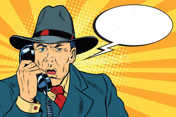 Sorpreso retro imprenditore parlando telefono pop art Foto d'archivio © studiostoks