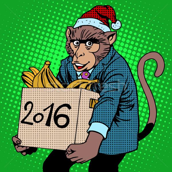 Monkey Santa Claus symbol new year 2016 Stock photo © studiostoks
