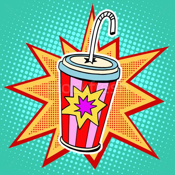 Cola бумаги Кубок соломы быстрого питания Поп-арт Сток-фото © studiostoks