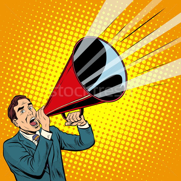 Businessman agitator with a megaphone pipe Stock photo © studiostoks