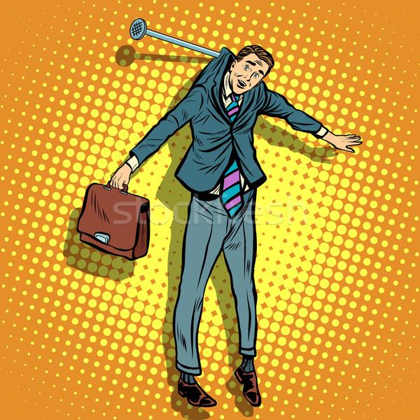 Stock fotó: üzletember · akasztás · fal · pop · art · retró · stílus · bűnös