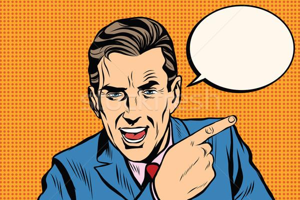 оратора бизнесмен указывая пальца Поп-арт ретро Сток-фото © studiostoks