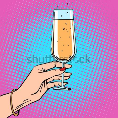 Toast glass red wine pop art Stock photo © studiostoks