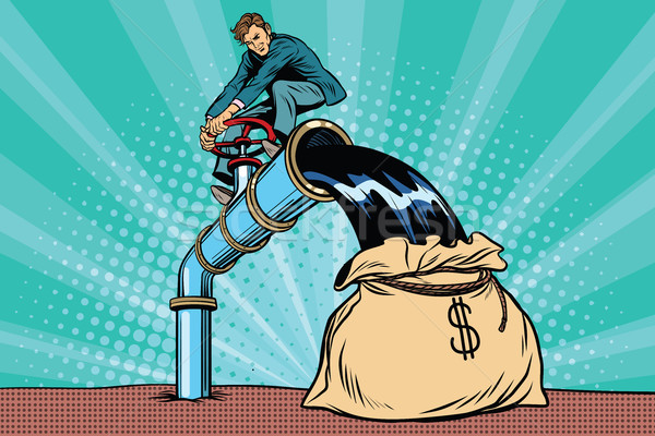 ретро бизнесмен нефть сумку деньги Поп-арт Сток-фото © studiostoks