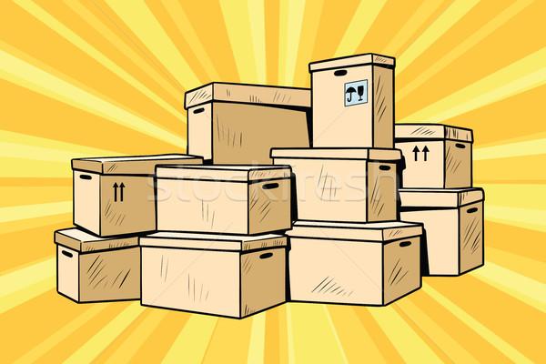 Carton cases emballage pop art rétro Photo stock © studiostoks