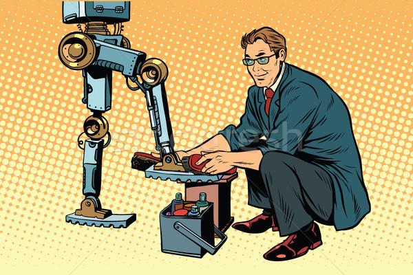 Empresário sapatos robô evolução revolução Foto stock © studiostoks