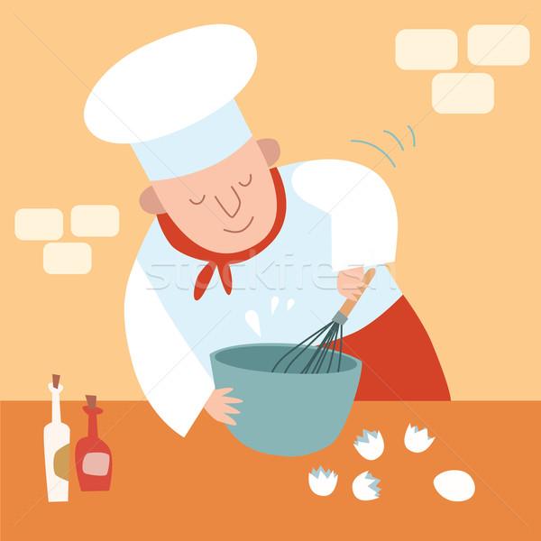 Szakács konyha habaró tojások étterem szakács Stock fotó © studiostoks