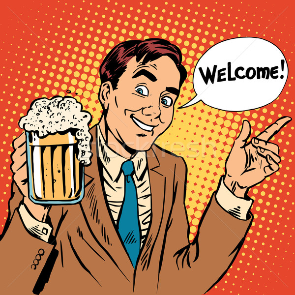 Man welcome to the beer restaurant Stock photo © studiostoks