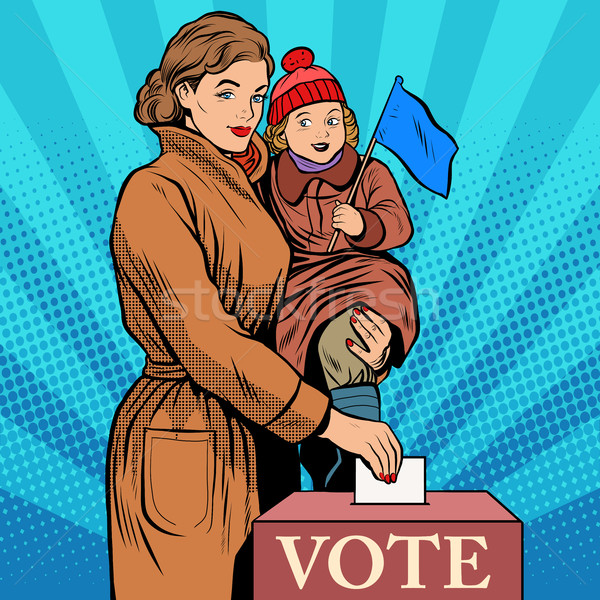 Mother and child women vote in elections Stock photo © studiostoks
