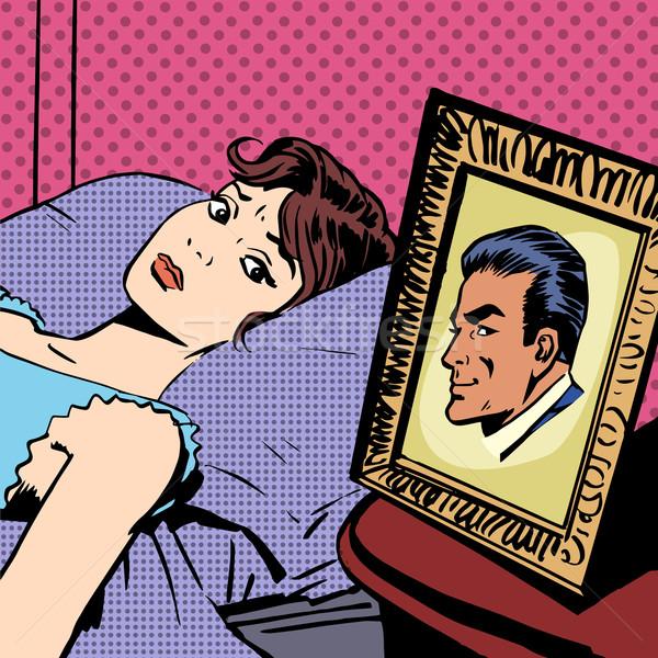 Nő ágy fotó férfiak feleség férj Stock fotó © studiostoks