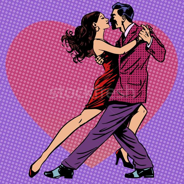 Dans erkekler kadın kalpler çift sevmek Stok fotoğraf © studiostoks