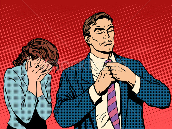 Family quarrel man leaves woman cries Stock photo © studiostoks
