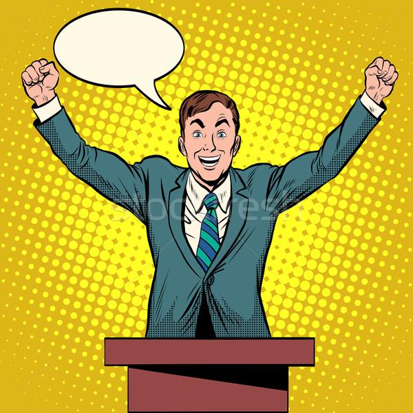 Spreker kandidaat toespraak podium pop art retro-stijl Stockfoto © studiostoks