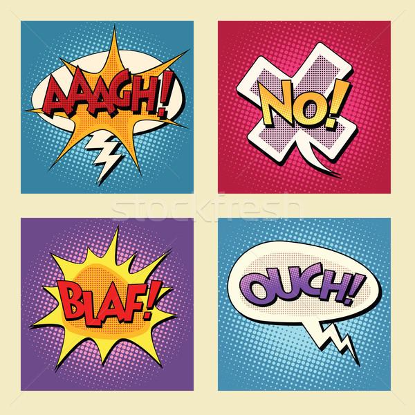 Zestaw retro komiks pęcherzyki pop art wektora Zdjęcia stock © studiostoks