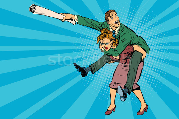 Business people man riding on woman, attack Stock photo © studiostoks