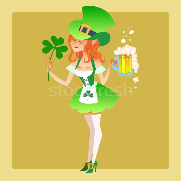 Girl elf green costume St. Patrick day Stock photo © studiostoks