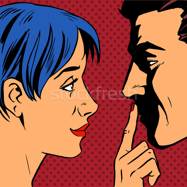 Stop woman invites man to stay put a finger to his lips Stock photo © studiostoks