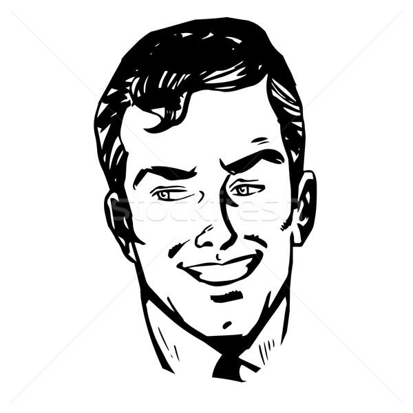 Man S Face Line Drawing : Smiling man face retro line art vector illustration