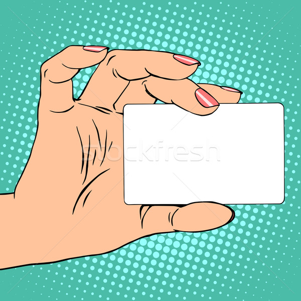 Business or credit card in female hand Stock photo © studiostoks