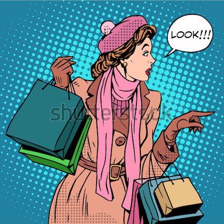 Mari femme Noël ventes pop art style rétro Photo stock © studiostoks