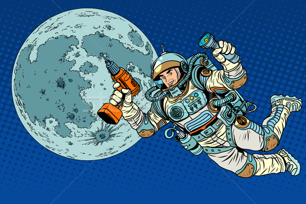 Astronaut with a drill and flashlight on the Moon Stock photo © studiostoks