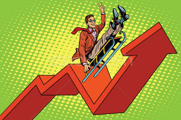 Businessman on a sled, up arrow chart sales Stock photo © studiostoks