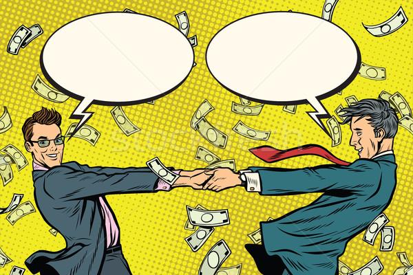 Dos empresarios felizmente baile dinero cómico Foto stock © studiostoks
