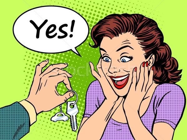 Buying car woman reaction joy keys gift Stock photo © studiostoks