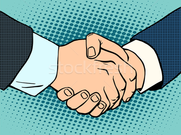 Handdruk business deal contract kunst retro-stijl Stockfoto © studiostoks