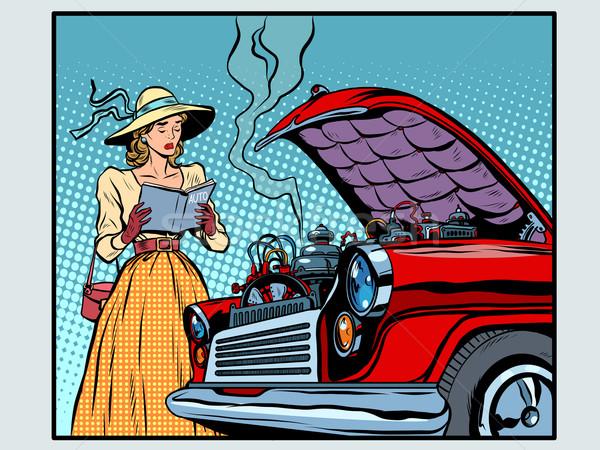 Trist femeie şofer masina rupt pop art stil retro Imagine de stoc © studiostoks