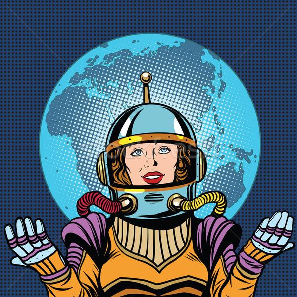 Kadın astronot simge hayat dünya gezegeni kadın Stok fotoğraf © studiostoks