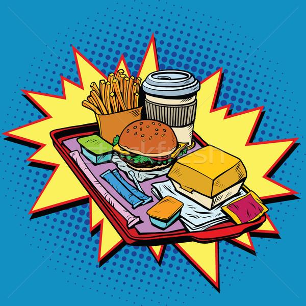 Gyorsételek vacsora pop art stílus retro hamburger Stock fotó © studiostoks