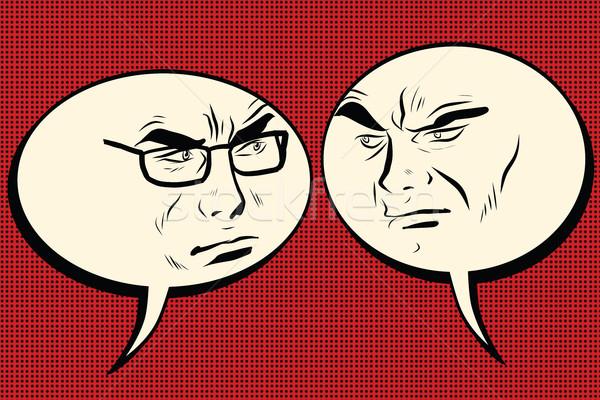 Deux colère hommes parler dessinées bulle Photo stock © studiostoks