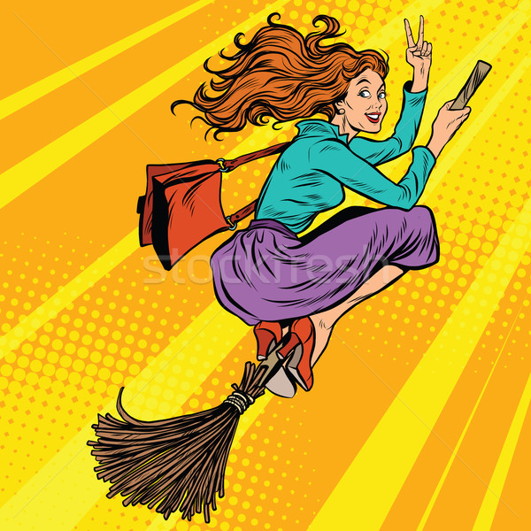 Beautiful woman witch flying on a broom Stock photo © studiostoks