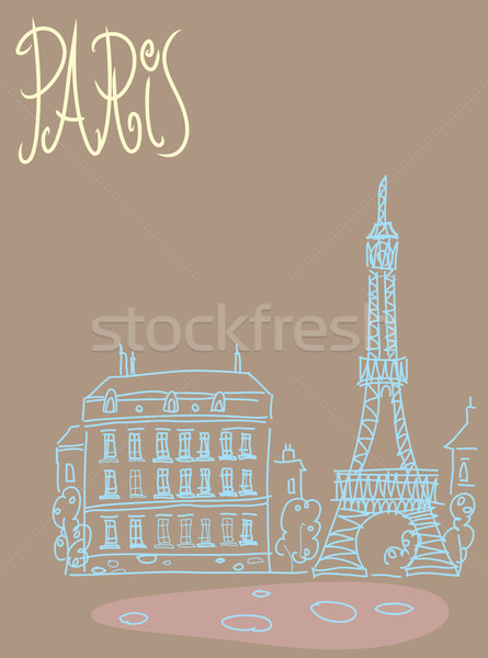 Travel background postcard Paris Stock photo © studiostoks