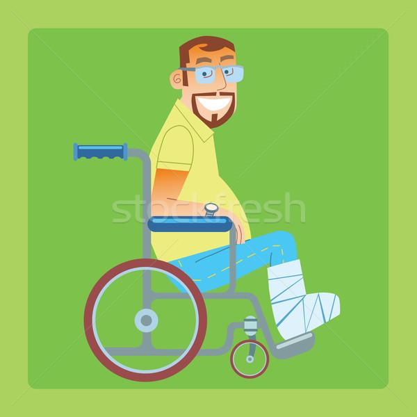 Perna quebrada trauma paciente cadeira de rodas hospital masculino Foto stock © studiostoks