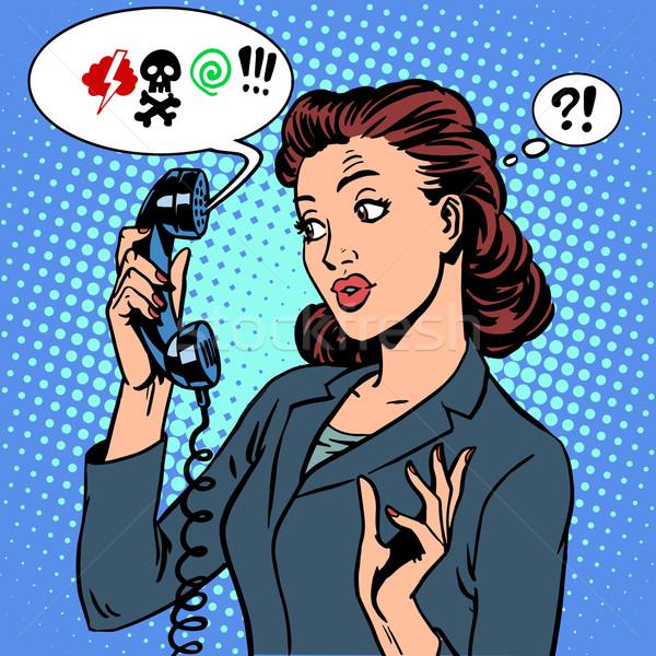 Perigoso falar telefone comunicação mulher de negócios abuso Foto stock © studiostoks