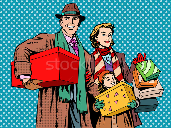 Shopping famille heureuse papa maman fille pop art Photo stock © studiostoks