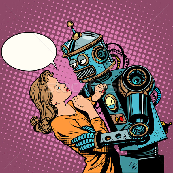 Robot femme amour ordinateur technologie pop art Photo stock © studiostoks