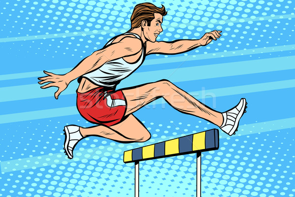 Man running hurdles athletics Stock photo © studiostoks