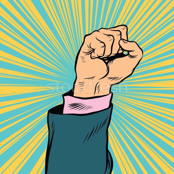 Поп-арт кулаком вверх символ протест ретро Сток-фото © studiostoks