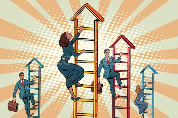 Business team climbs up the stairs Stock photo © studiostoks