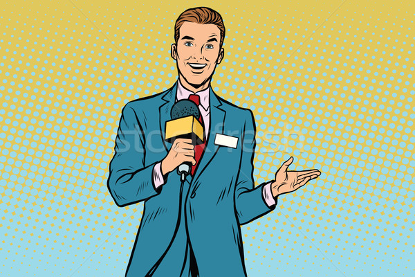 joyful TV reporter with microphone Stock photo © studiostoks