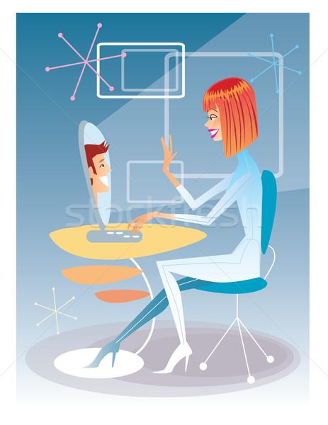 Jonge vrouw praten computer jonge man futuristische interieur Stockfoto © studiostoks