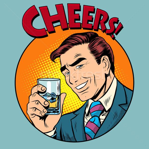 Cheers toast celebration man pop art retro style Stock photo © studiostoks