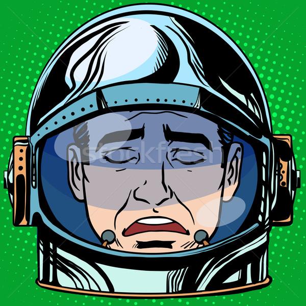 Emoticon tristeza cara hombre astronauta retro Foto stock © studiostoks