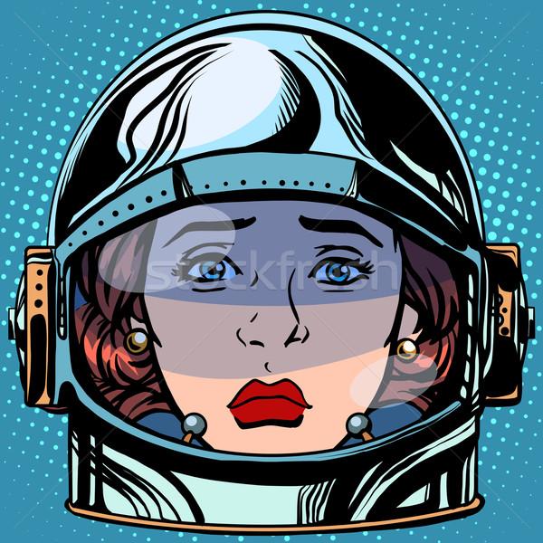 Tristesse visage femme astronaute rétro Photo stock © studiostoks