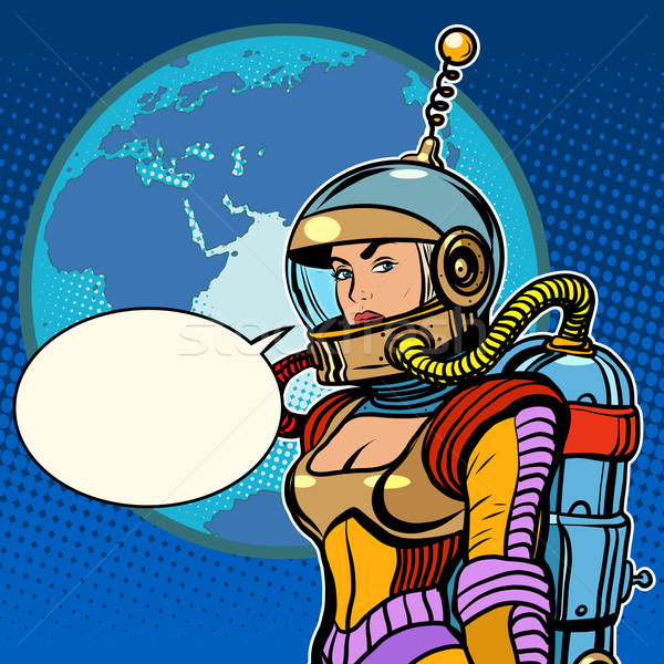 Girl cosmonaut on planet Earth Stock photo © studiostoks