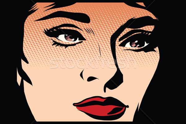 Beautiful girl face in the dark noir  Stock photo © studiostoks