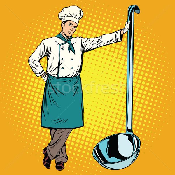 Professional chef with ladle Stock photo © studiostoks